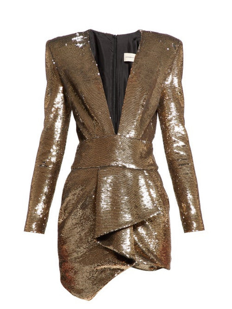 Alexandre Vauthier - Plunge Neck Sequin Mini Dress - Womens - Gold