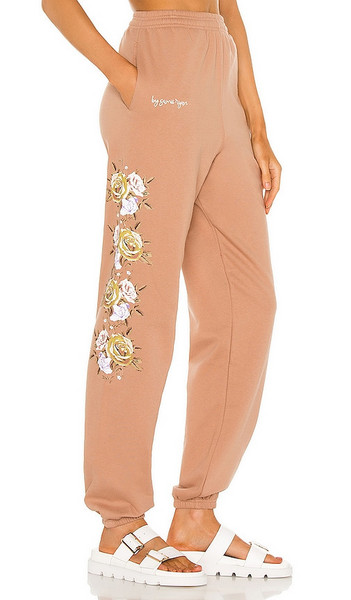 By Samii Ryan Bouquet Pigment Dyed Sweatpants in Tan in brown