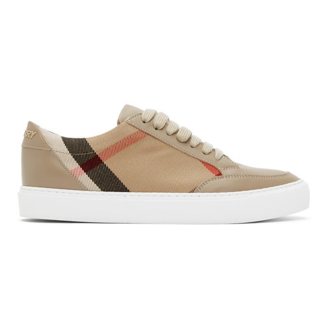 Burberry Beige New Salmond Sneakers in tan