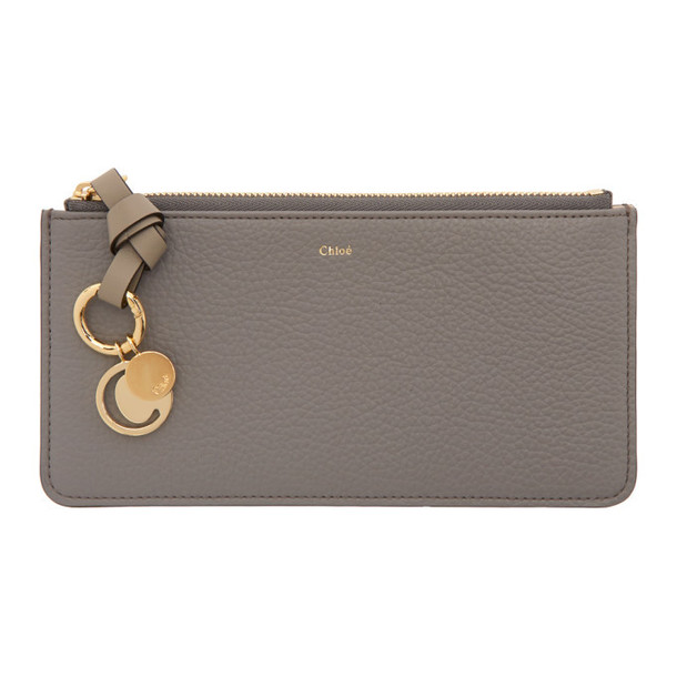 Chloe Grey Alphabet Flat Wallet