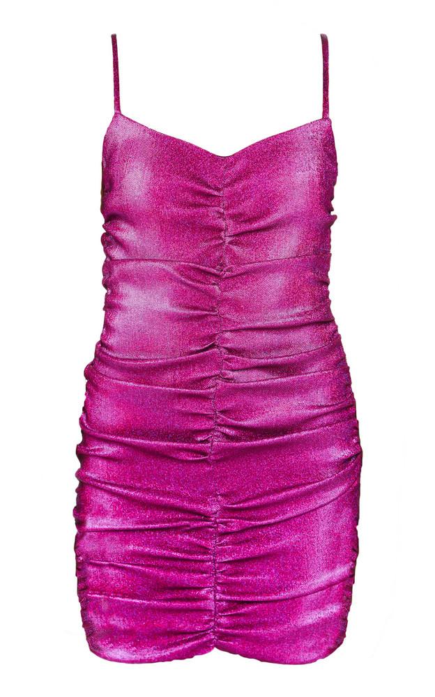Area Metallic Ruched Lurex Mini Dress in pink
