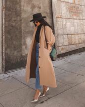 coat,trench coat,long coat,pumps,high waisted jeans,straight jeans,black turtleneck top,felt hat