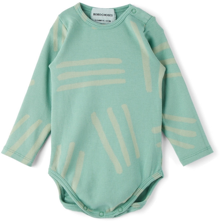 Bobo Choses Baby Blue Scratch All Over Bodysuit in teal