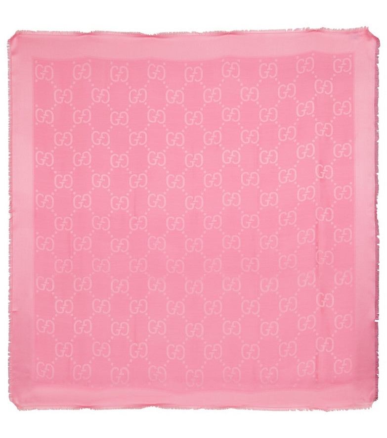 Gucci GG jacquard silk and wool scarf in pink