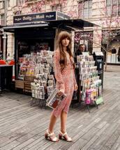 dress,midi dress,long sleeve dress,white sandals,sandal heels