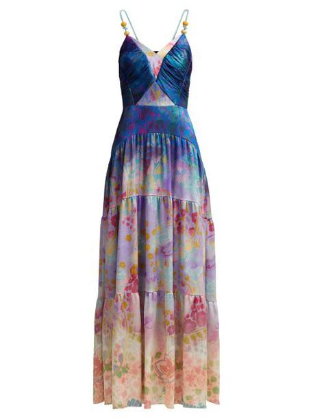 Peter Pilotto - Floral Print Silk Blend Gown - Womens - Blue Multi