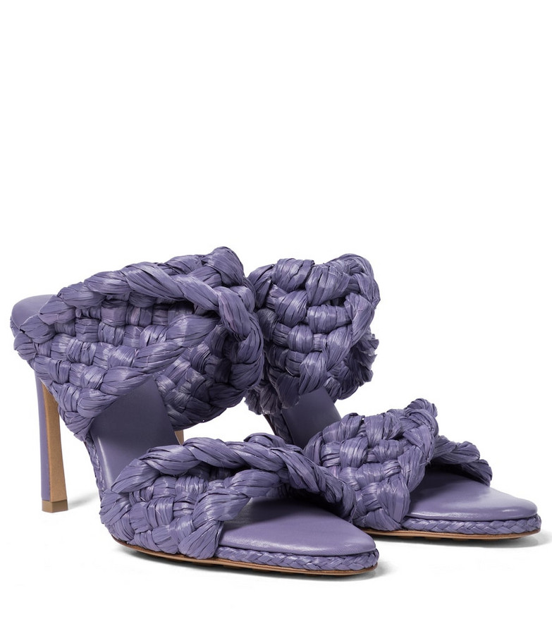 Bottega Veneta The Curve raffia sandals in purple