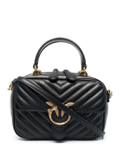 Pinko chevron quilted tote bag in black