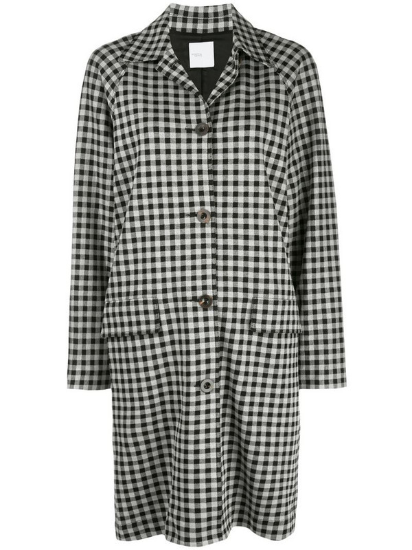 Rosetta Getty gingham single-breasted coat in black