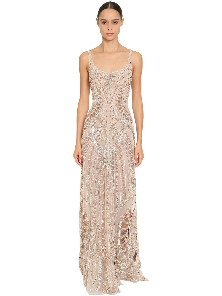 ZUHAIR MURAD Long Embellished Tulle Dress in gold