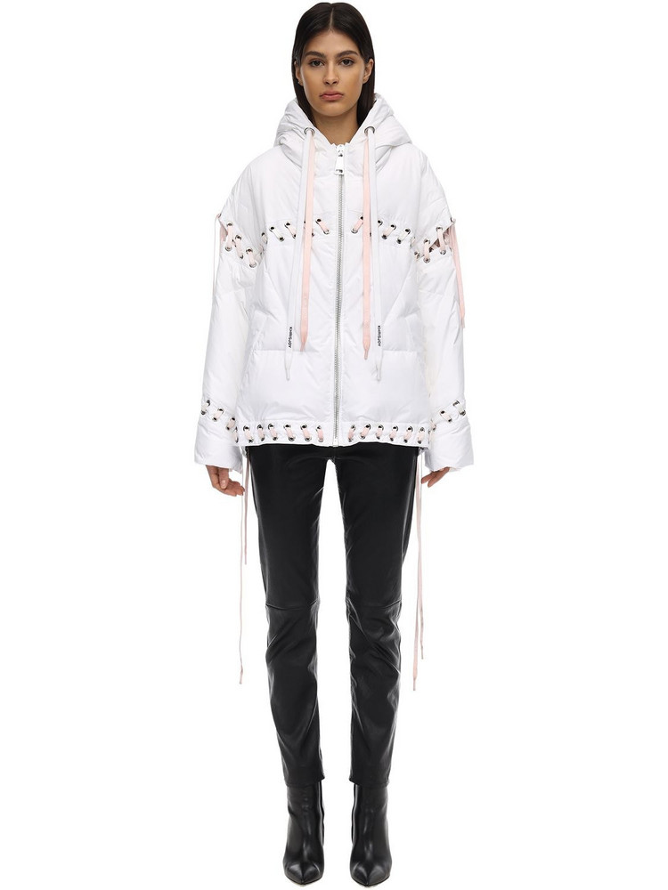 KHRISJOY Hooded Down Jacket W/laces in white