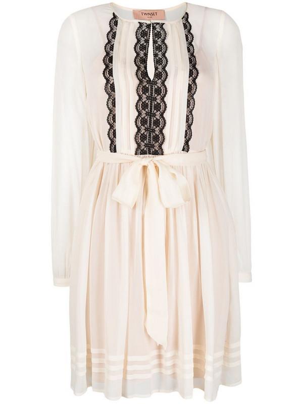 Twin-Set embroidered tie-waist dress in white