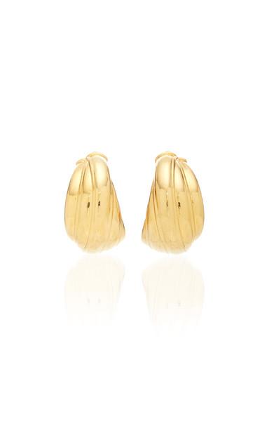 Brandon Maxwell Braided Twist Brass Earrings in gold