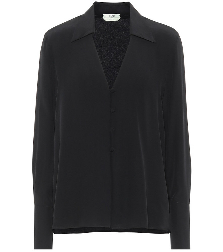 Fendi Silk crêpe de chine blouse in black