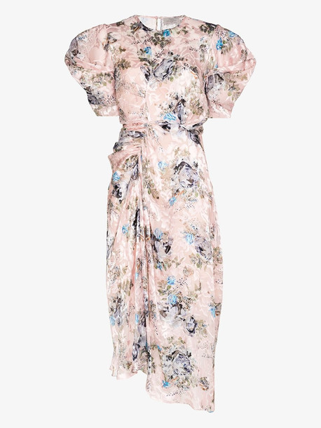 Preen By Thornton Bregazzi floral puff sleeve midi dress in pink