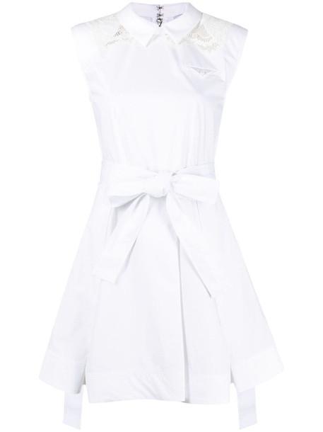 Self-Portrait box-pleat sleeveless dress - White
