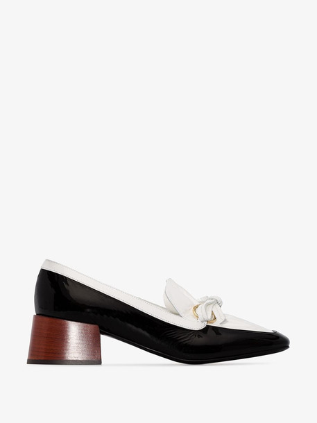 Loewe black and white square toe 50 patent leather loafers