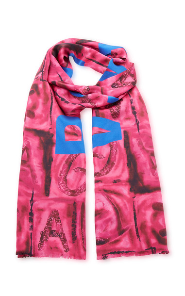 Balenciaga Two-Tone Printed Silk Scarf in pink