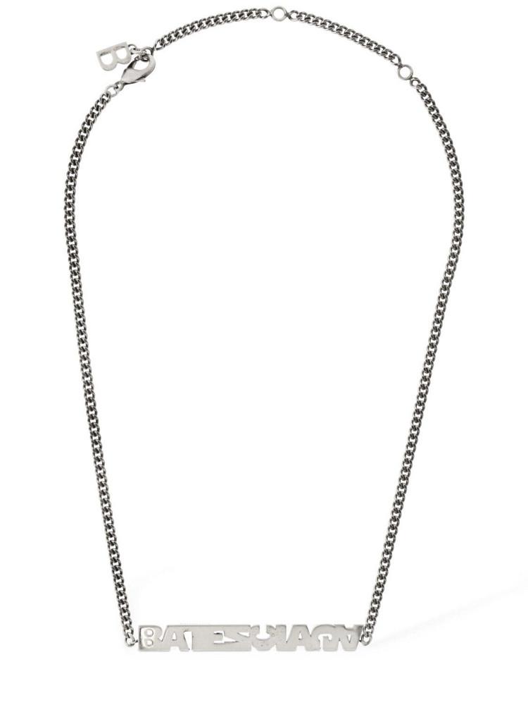 BALENCIAGA Typo Turn Necklace in silver