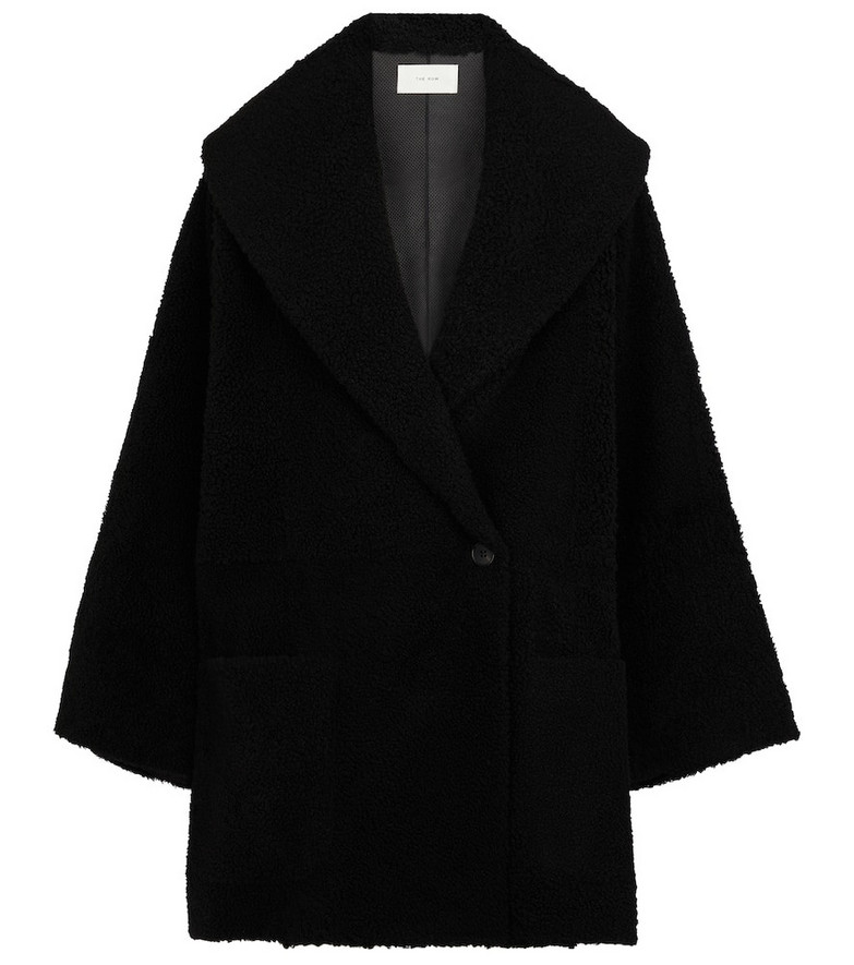 The Row Misaki shearling coat in black