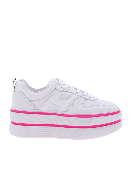 Hogan H449 Platform Sneakers in fuchsia / white