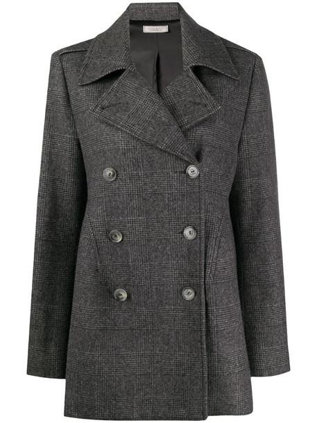 Nina Ricci checked woven coat in grey