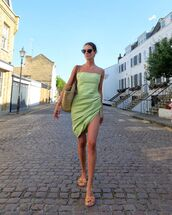 dress,mini dress,green dress,jacquemus,flat sandals,woven bag