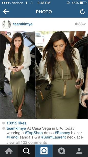 Kim Kardashian Olive Green Maternity Dress Wheretoget