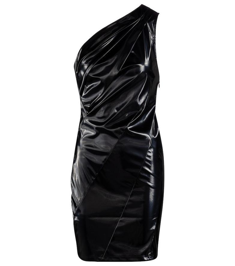 RtA Arie one-shoulder vinyl minidress in black