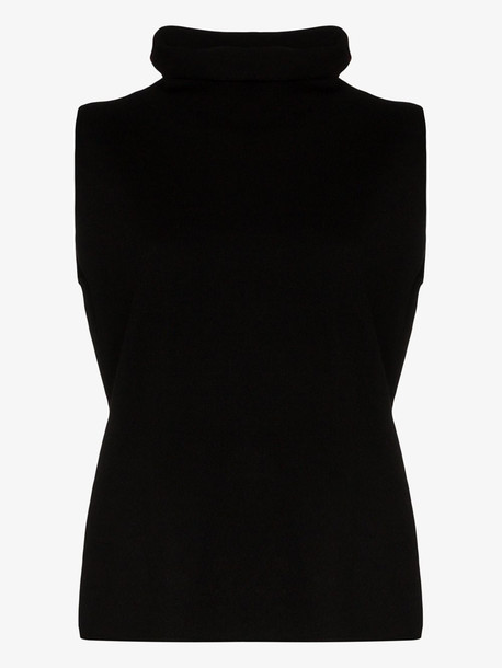 Ply-Knits sleeveless cashmere turtleneck top in black