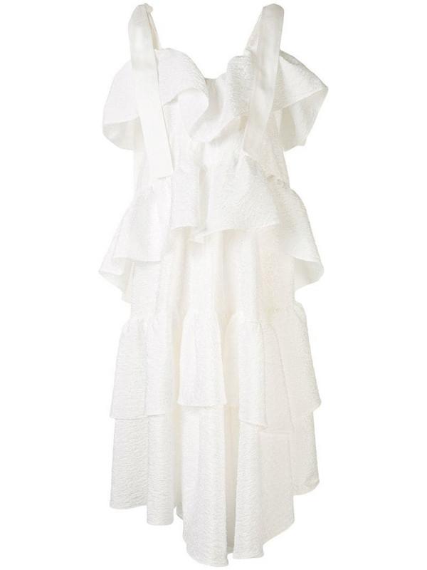 Goen.J tiered midi dress in white