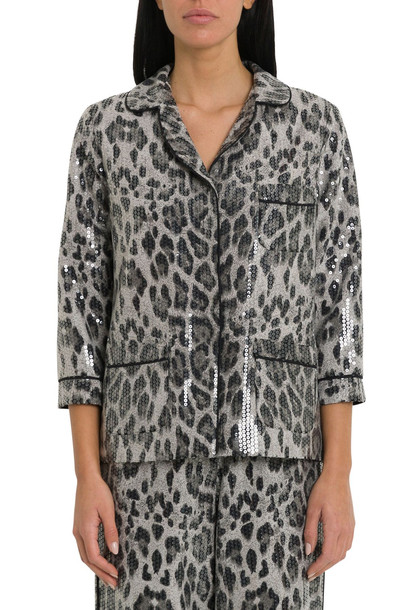 In The Mood For Love Panther Print Pyjama Style Sequin Jacket