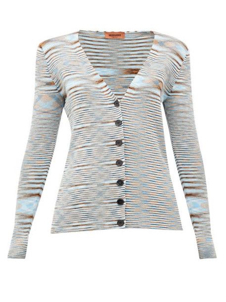Missoni - Moiré-knit V-neck Cotton Cardigan - Womens - Blue Multi