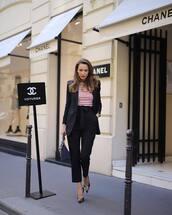 pants,black pants,high waisted pants,straight pants,pumps,balenciaga,handbag,blue bag,striped top,black blazer