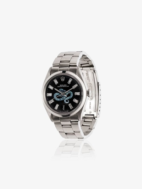 Jacquie Aiche Vintage Rolex Diamond Snake Dial Watch in silver
