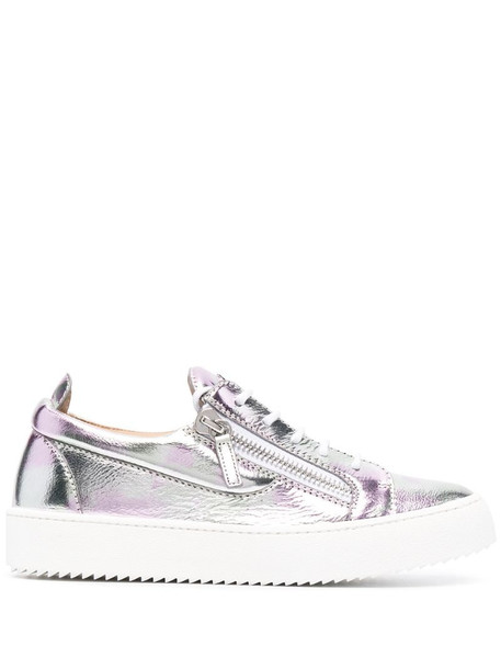 Giuseppe Zanotti metallic leather low-top sneakers in silver