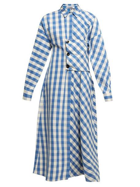 Jil Sander - Genziana Gingham Cotton Shirtdress - Womens - Blue White