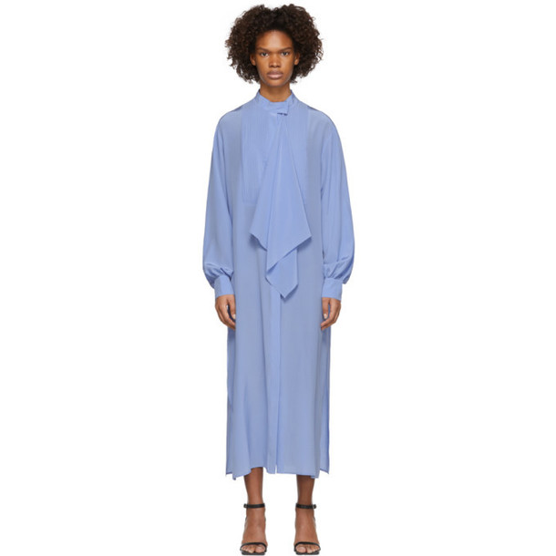 Pyer Moss Blue Long Tuxedo Shirt Dress