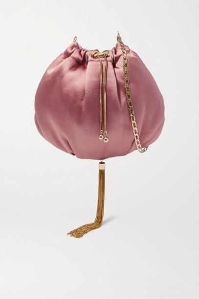 Rosantica - Fatale Tasseled Satin Shoulder Bag - Pink