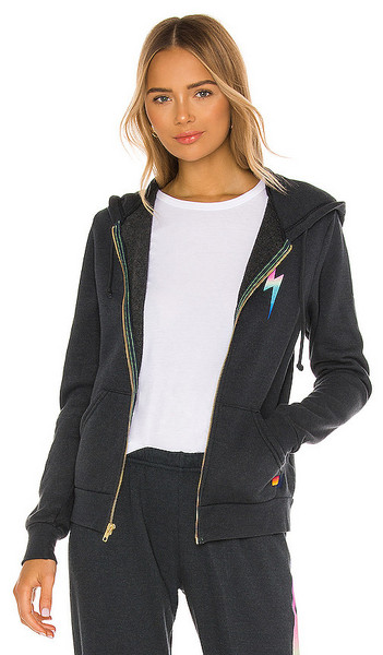 Aviator Nation Bolt Zip Hoodie in Charcoal in pink