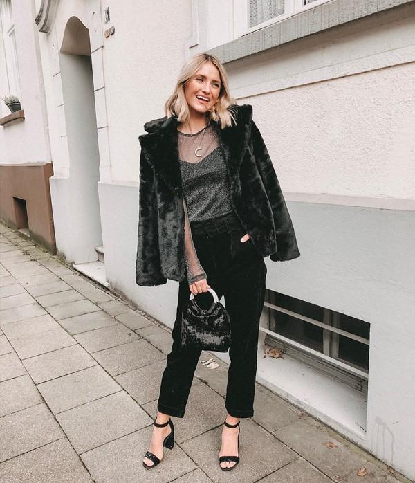 pants black pants straight pants black bag black jacket faux fur jacket top