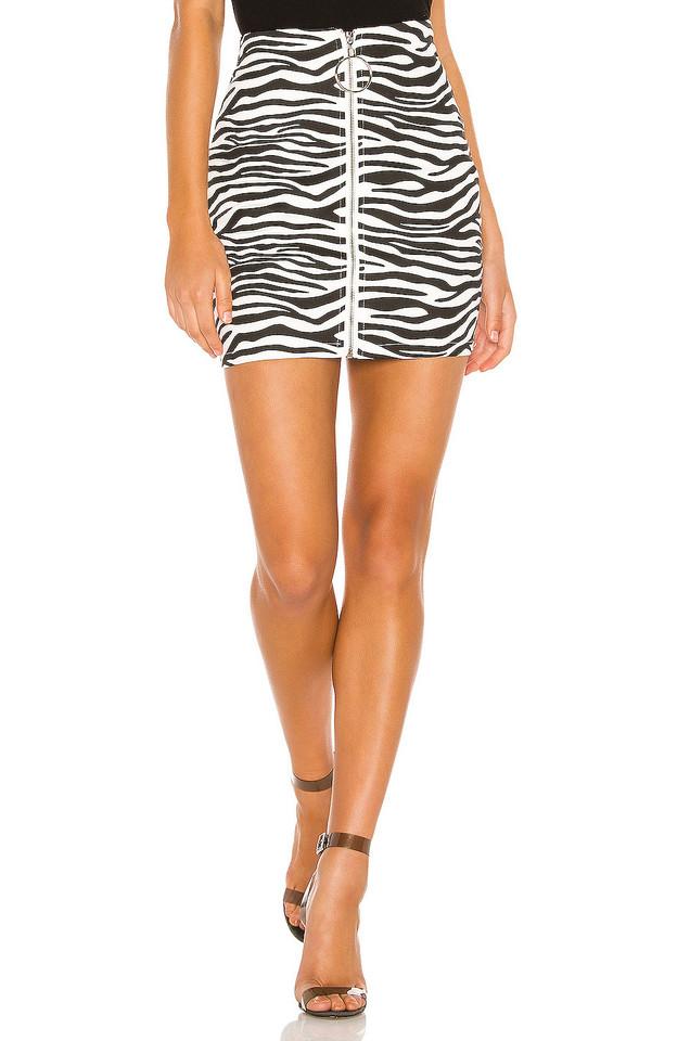 superdown Tabi Zip Up Skirt in black / white