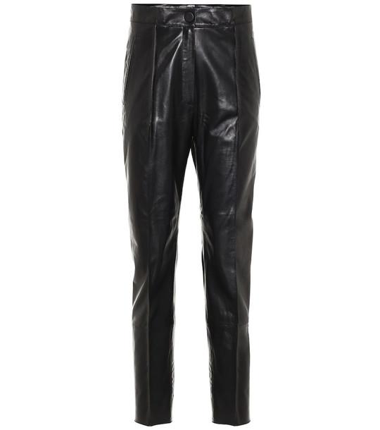 Petar Petrov High-rise slim leather pants in black