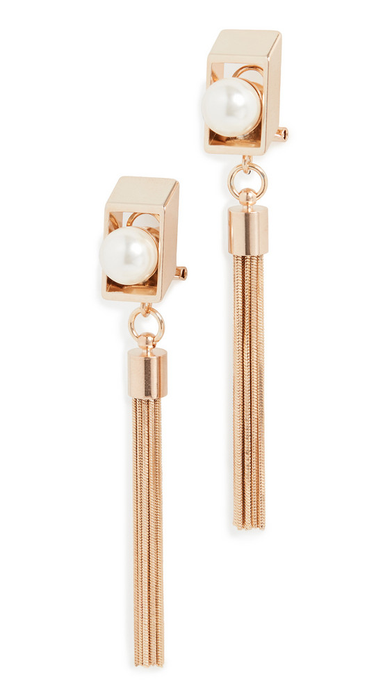 Anton Heunis Rectangle Earrings with Tassel in cream