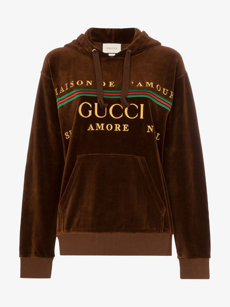 Gucci Embroidered Logo Velour Hoodie in brown