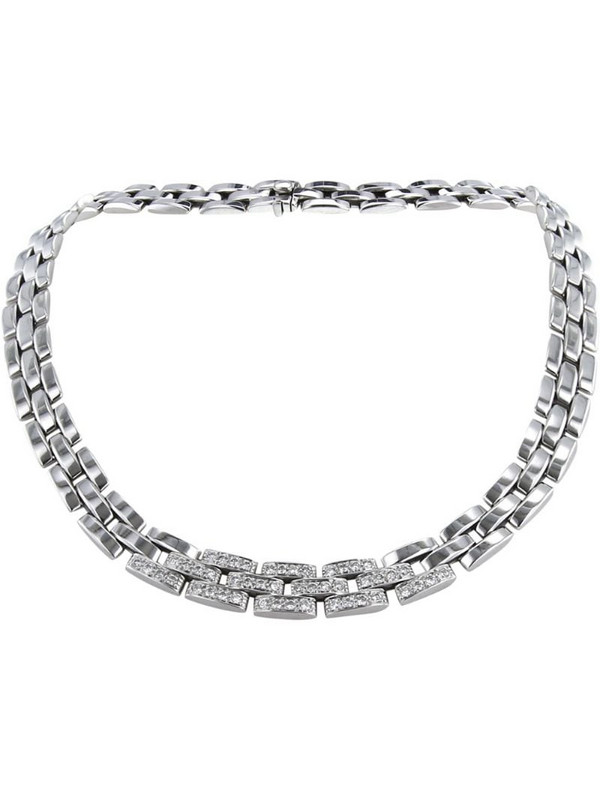 Cartier 2000s pre-owned 18kt white gold diamond Maillon Panthère necklace