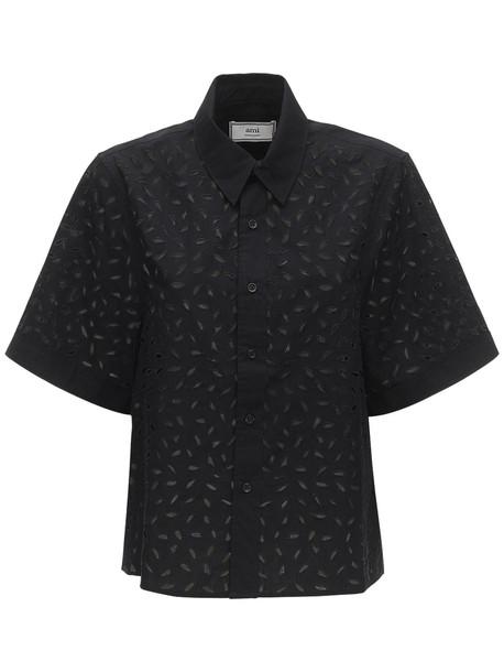 AMI ALEXANDRE MATTIUSSI Eyelet Lace Cotton Poplin Shirt in black