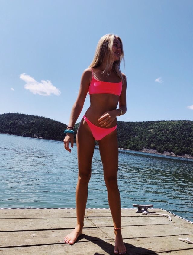 swimwear hot pink bikini pink cute summer