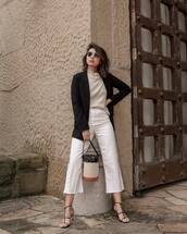 jeans,white jeans,cropped jeans,straight jeans,black sandals,bucket bag,black blazer,turtleneck sweater,zara