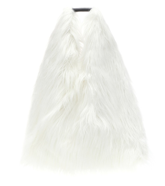 MM6 Maison Margiela Faux fur tote in white